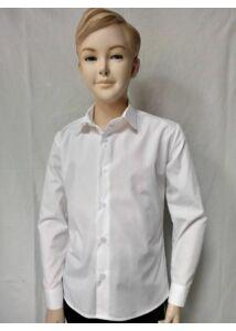 Fehér karcsúsított fiú ing vasalás könnyített iskolai ünnepélyre és öltönyhöz