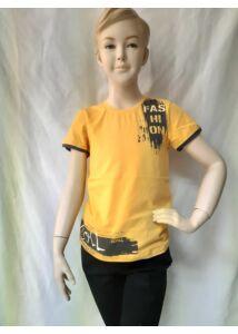 Sárga rövid ujjú póló szolid filmnyomással