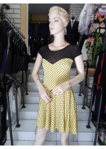 Sárga alapon fekete pöttyös ruha ANNBOR