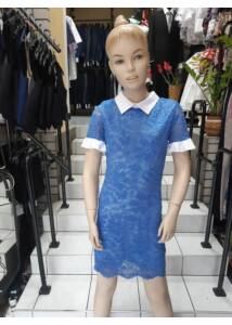 Fehér gallérú kék csipke ruha ANNBOR