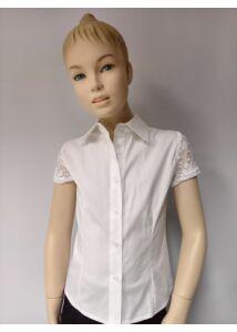 ANNBOR rövid ujjú fehér lányka ing csipke betéttel