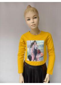 ANNBOR 3D sárga lány hosszú ujjú póló