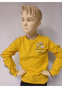 Vékony hosszú  ujjú sárga pamut fú póló