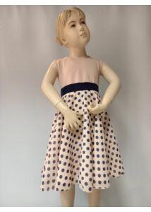 Púder alapon kék pöttyös loknis muszlin kislány ruha
