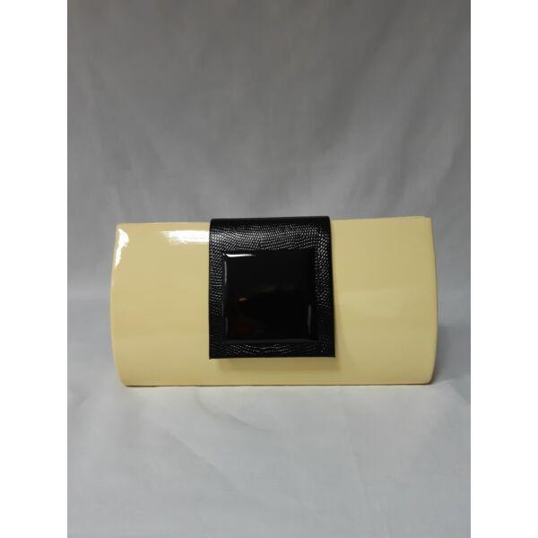 Sárga lakk lap táska feketével díszített
