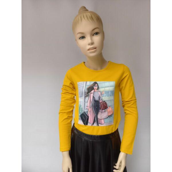 3 D sárga lány póló