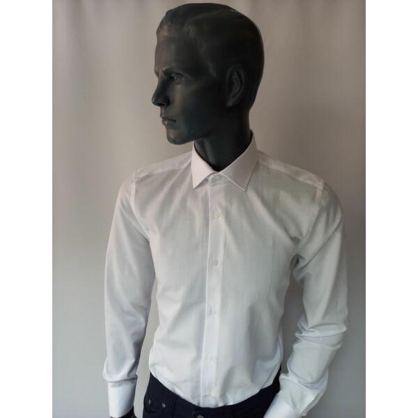 Férfi karcsúsított hosszú ujjú fehér ing