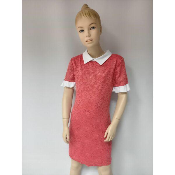 fehér gallérú lány korál ruha