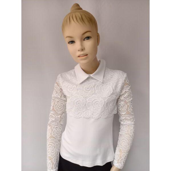 fehér galléros lány felső